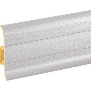 Плинтус Cezar Premium Aluminium szczotkowane пластиковый с кабель-каналом (матовый) 59х22х2500